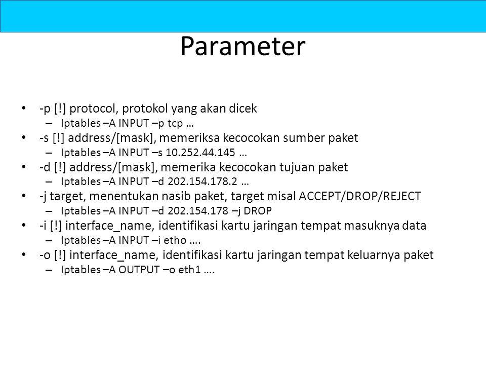 Parameter -p [!] protocol, protokol yang akan dicek